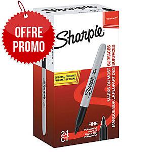 Marqueur permanent Sharpie Fine - pointe ogive fine - noir - pack 20 + 4 offerts
