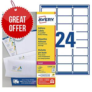Avery L7159 laser labels Jam Free 63,5x33,9mm - box of 2400