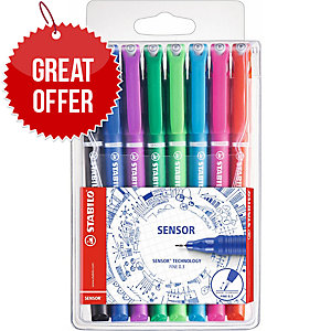 PACK OF 8 STABILO SENSOR FINELINER ASSORTED