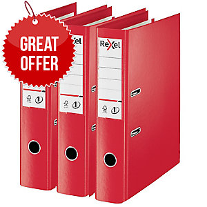 Rexel Choices Foolscap PP No.1 Lever Arch File 75mm, Spine, Red