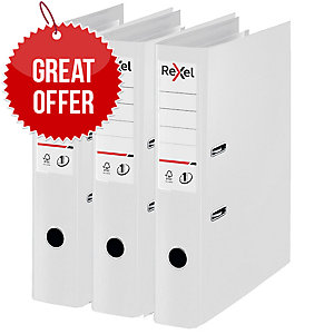 Rexel Choices Foolscap PP No.1 Lever Arch File 75mm, Spine, White