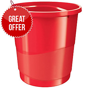 Rexel Choices 14 Litre Waste Bin Red