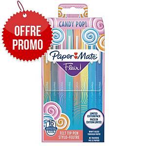 Feutres Paper Mate - pointe moyenne - coloris Flair Candy Pop - pochette de 16