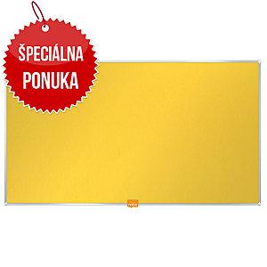 Textilná nástenka Nobo, širokouhlá, 85 , žltá