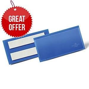 Durable Adhesive Document Pouch 100X38mm Blue - Pack of 50