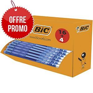 Stylo encre gel Bic Gelocity - rétractable - pointe moyenne - bleu - par 20
