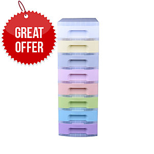 Drawer Tower 8X7L Clear/Pastel