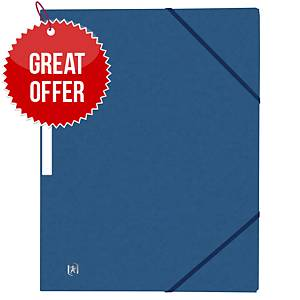 Oxford Top File+ 3-Flap Folder A4 Elasticated D.Blue - Pack Of 10