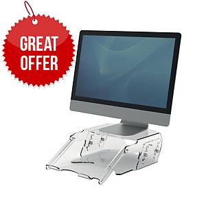 Fellowes 9731201 Clarity Series Adjustable 2 Monitor Riser