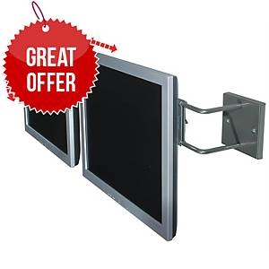 R-Go RGOSC160 Adjustable Dual Monitor Wall Mount (Up To 2x 27  Screens) Silver