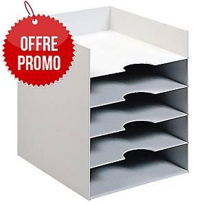 Module de rangement Paperflow - 5 compartiment - l. 25,8 cm - gris