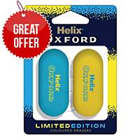 Helix Oxford Clash Eraser Blue/Yellow - Pack Of 2