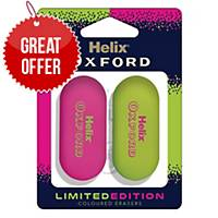 Helix Oxford Clash Eraser Pink/Green - Pack Of 2