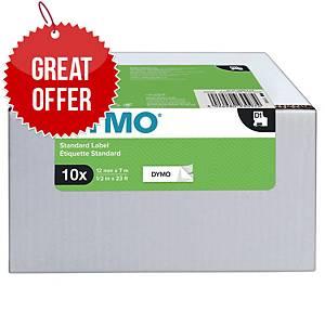 DYMO D1-Tape Black on White 12mm x 7m - Pack Of 10