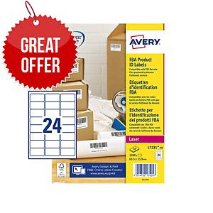 Avery L7231-50 FBA Label Sheet Perm 24-UP 63.5x33.9mm - Pack Of 50