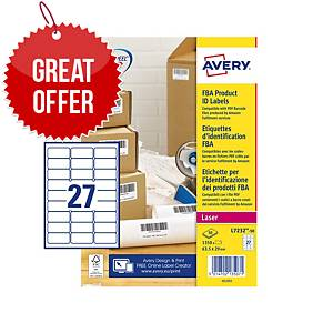 Avery L7232-50 FBA Label Sheet Perm 27-UP 63.5x29.6mm - Pack Of 50