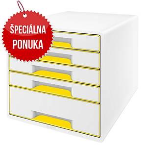 Zásuvkový modul Leitz, 5-zásuvkový, biely/žltý
