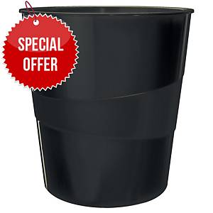LEITZ WOW WASTE BIN BLACK