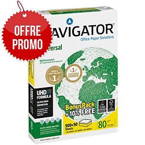 Papier blanc Navigator A4 80g - Ramette promo de 500 feuilles +10% gratuit