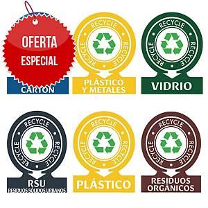 Pack de 6 pegatinas de reciclaje - PVC