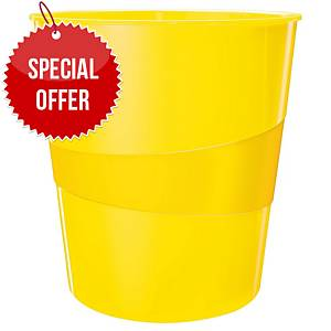 LEITZ WOW WASTE BIN 15L YELLOW