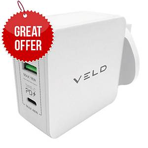 VELD VH48DW Super-Fast 2 Port Wall Charger 48W