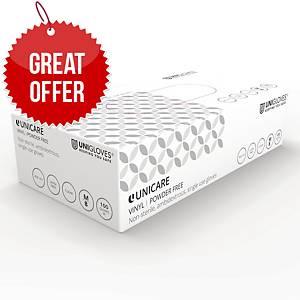 Unicare GS0063 Vinyl Gloves Medium Clear - Pack Of 100