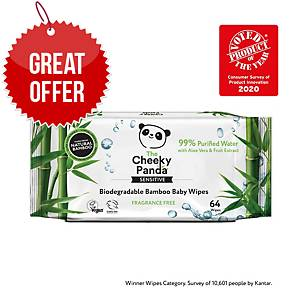 Cheeky Panda Baby Wipes Biodegredable - Pack Of 64