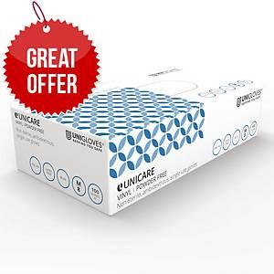 Unicare GS0083 Vinyl Food-Grade Gloves Medium Blue - Pack Of 100