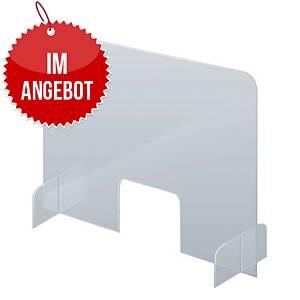 Schutzschild als Aufsteller mit Durchreiche Acryl SSW8570 85 x 70 cm (BxH)