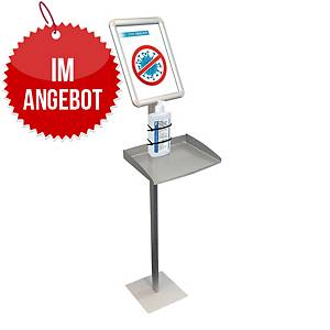 Infodisplay mit Ablage für Desinfektionsspender A4 hochkant BS0911, 1,465 m