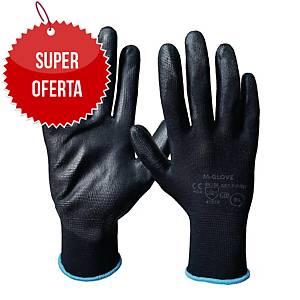 Rękawice M-GLOVE, PU1001 czarne, rozmiar 7, 12 par