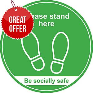 Green Social Distancing Floor Graphic - Please Stand Here