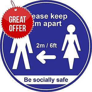 Blue Social Distancing Floor Graphic - Please Keep 2m/6ft Apart