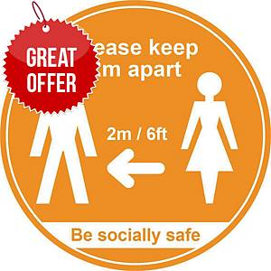 Amber Social Distancing Floor Graphic - Please Keep 2m/6ft Apart