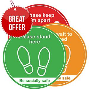 Social Distancing Floor Graphic - Traffic Light Pack of 3