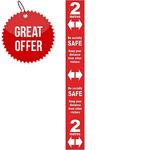 Red Social Distancing Self Adhesive Semi Floor Distance Marker