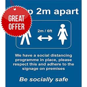 Social Distancing Rigid PVC Board Sign - Keep 2m/6ft Apart