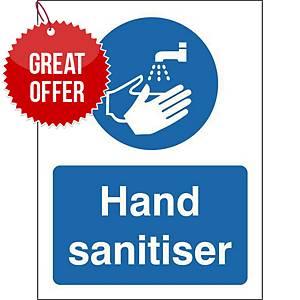 Hand Sanitiser Safety Sign Self Adhesive 150x200MM