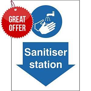 Sanitiser Station Safety Sign Self Adhesive 150x200MM