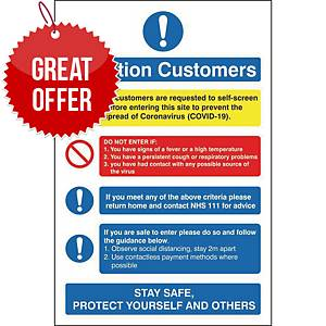 H&S Sign Attention Customers 150X200 Self Adhesive Vinyl