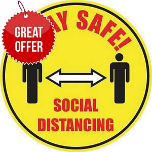 Social Distancing Floor Marker  - Yellow Floor Marking With Anti-Slip Laminate