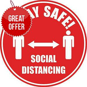 Social Distancing Floor Marker Pack 2 - Red with Anti-Slip Laminate