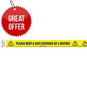 Safe Distance Warning Tape 48mmx66m