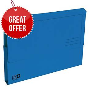 Exacompta Cleansafe Foolscap Document Wallet Blue - Pack of 5