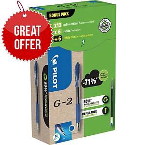 Pilot G2 Gel Retractable x 12 + 12 Refill Value Pack Blue