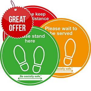 Keep A Safe Distance Floor Graphic - Traffic Light Pack of 3