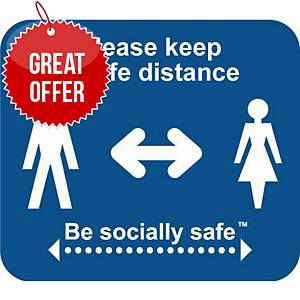 Blue Sticker Sign - Please Keep A Safe Distance Label Pack of 25