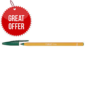 Bic Cristal Ball Point Green Pens 0.5mm Line Width - Box Of 20