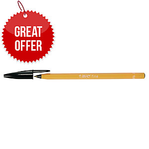Bic Cristal Ball Point Black Pens 0.5mm Line Width - Box Of 20